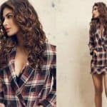 Mouni Roy Makes Checks Look Hot, Wears Sexy Separates With Black Lace Bralet - Viral Photos