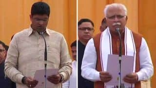 Haryana Swearing-in Ceremony: Manohar Lal Khattar Takes Oath as CM, Dushyant Chautala as Deputy CM