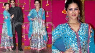 Sunny Leone Looks Mesmerizing in Blue Anarkali at T-Series' Diwali Party - Check Viral Photos