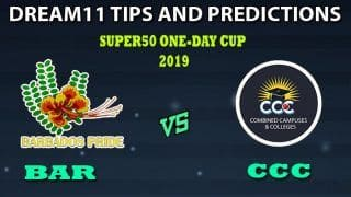 Barbados vs Combined Campuses And Colleges Dream11 Team Prediction Super50 Cup 2019: Captain And Vice-Captain, Fantasy Cricket Tips BAR vs CCC Group A Match at Warner Park, Basseterre, St Kitts 11:00 PM IST