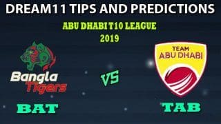 BAT vs TAB Dream11 Team Prediction Abu Dhabi T10 League 2019: Captain And Vice-Captain, Fantasy Cricket Tips Bangla Tigers vs Team Abu Dhabi Match 15 at Sheikh Zayed Stadium, Abu Dhabi 9:30 PM IST