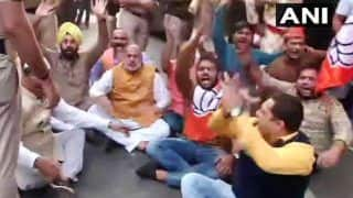 BJP Holds Protest Outside Congress Office Demanding Rahul Gandhi's Apology Over His Remarks on Rafale Verdict