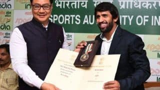 Sports Minister Kiren Rijiju Hands Over Khel Ratna to Wrestler Bajrang Punia