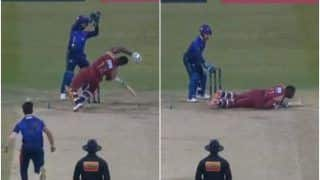 T10 league 2019 andre russell gets bamboozled by leg spin bouncer