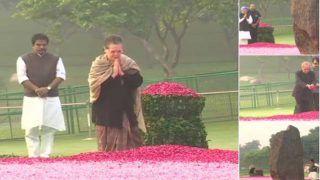 पूर्व राष्ट्रपति प्रणब मुखर्जी, सोनिया गांधी और मनमोहन सिंह ने दी इंदिरा गांधी को श्रद्धांजलि