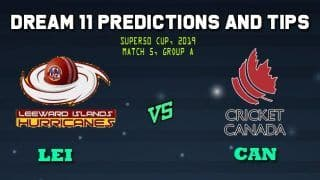Leeward Islands vs Canada Dream11 Team Prediction Super50 Cup 2019: Captain And Vice-Captain, Fantasy Cricket Tips LEI vs CAN Match 5, Group A Match at Warner Park, Basseterre, St Kitts 11.00 PM IST