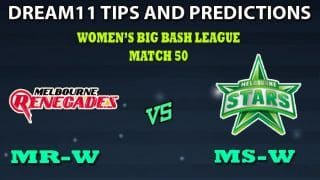 Melbourne Renegades Women vs Melbourne Stars Women Dream11 Team Prediction Women's Big Bash League 2019: Captain And Vice-Captain, Fantasy Cricket Tips MR-W vs MS-W Match 50 at Junction Oval, Melbourne 4:10 AM IST