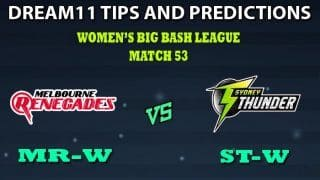 Melbourne Renegades Women vs Sydney Thunder Women Dream11 Team Prediction Women's Big Bash League 2019: Captain And Vice-Captain, Fantasy Cricket Tips MR-W vs ST-W Match 53 at Junction Oval, Melbourne 5:30 AM IST