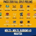 16 team list of PMCO 2019 Fall Split Global Prelims announced
