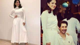 Bollywood Hottie Sunny Leone Looks Radiant in Simple White Dress, Shares Candid Moment With Hubby Daniel Weber