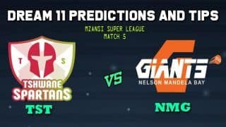 Tshwane Spartans vs Nelson Mandela Bay Giants Dream11 Team Prediction Mzansi Super League 2019: Captain And Vice-Captain, Fantasy Cricket Tips TST vs NMG Match 5 at SuperSport Park, Centurion 9.00 PM IST