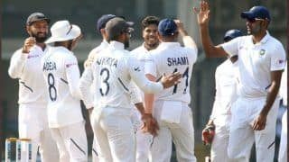 Ind v ban 1st test mohammed shamir ishant sharma r ashwin umesh yadav shine as india restricts bangladesh to 150 10 on day 1 in indore test