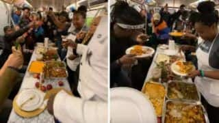 Watch: Commuters Enjoy Thanksgiving Feast Inside Moving Train in New York, Video Goes Viral