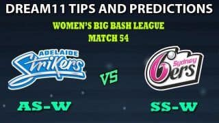 Adelaide Strikers Women vs Sydney Sixers Women Dream11 Team Prediction Women's Big Bash League 2019: Captain And Vice-Captain, Fantasy Cricket Tips AS-W vs SS-W Match 53 at Hurstville Oval, Sydney 8:30 AM IST