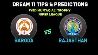 Dream11 Team Prediction Baroda vs Rajasthan: Captain And Vice Captain For Today Super League, A1 vs B2, Syed Mushtaq Ali Trophy 2019 Between BRD vs RJS at  Lalbhai Contractor Stadium in Surat 2:30 PM IST November 21