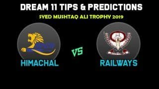 Dream11 Team Prediction Himachal Pradesh vs Railways : Captain And Vice Captain For Today Group C, Syd Mushtaq Ali Trophy 2019 Between HIM vs RAI at  Sector 16 Stadium, Chandigarh 1:00 PM IST November 18