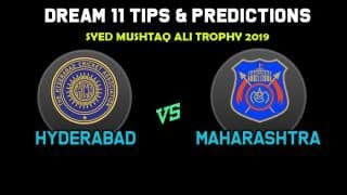 Dream11 Team Prediction Hyderabad vs Maharashtra: Captain And Vice Captain For Today Group C, Round 5, Syed Mushtaq Ali Trophy 2019 Between HYD vs MAH at Rajkot 2:00 PM IST November 14
