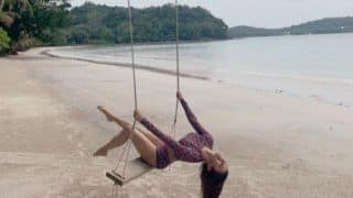Mouni Roy Oozes Oomph in Crop Top And Briefs as She Swings on Beach Location, Picture Will Make You go Crazy
