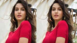 Nora Fatehi in Scarlet Red Dress is Nothing Short of Sensuous- Check