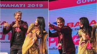 Milind Soman's Video of Matching Bihu Dance Steps With Wife Ankita Konwar Before a Sea of Fans is Cutest Thing on Internet Today!