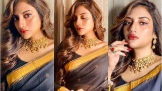 TMC MP Nusrat Jahan's Sultry Saree Look in THESE Viral Pictures is Enough to Make Fans go Weak in Knees