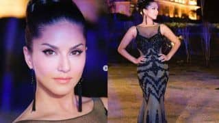 Sunny Leone Flaunts Her Svelte Figure in Sexy Black-Grey Gown And High Bun