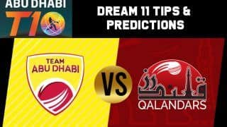 Dream11 Team Prediction Team Abu Dhabi vs Qalandars : Captain And Vice Captain For Today Match 3, Abu Dhabi T10 Premier League Between TAB vs QAL at  Sheikh Zayed Stadium in Abu Dhabi 10:30 PM IST November 15