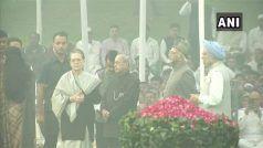 पूर्व राष्ट्रपति मुखर्जी, पूर्व पीएम मनमोहन सिंह, सोनिया गांधी और अंसारी ने दी नेहरू को श्रद्धांजलि