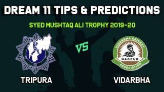 Dream11 Team Prediction Tripura vs Vidarbha: Captain And Vice Captain For Today Group B, Round 1, Syed Mushtaq Ali Trophy 2019-20 Between TRP vs VID at Trivandrum 9:00 AM IST November 8