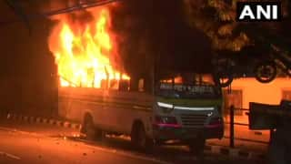 CAA Stir: CCTV Video Shows Protesters Setting DTC Bus on Fire | Watch