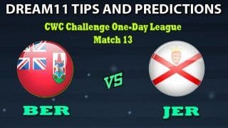 Bermuda vs Jersey Dream11 Team Prediction CWC Challenge One-Day League: Captain And Vice-Captain, Fantasy Cricket Tips BER VS JER Match 13 at Al Amerat Cricket Ground 2, Oman 11:00 AM IST