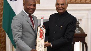 राष्ट्रपति रामनाथ कोविंद से मिले क्रिकेट दिग्गज ब्रायन लारा, भेट में दिया साइन किया बल्ला