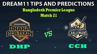 DHP vs CCH Dream11 Team Prediction Bangladesh Premier League: Captain And Vice-Captain, Fantasy Cricket Tips Dhaka Platoon vs Chattogram Challengers Match 21 at Shere Bangla National Stadium, Dhaka 1:30 PM IST