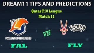 FAL vs FLY Dream11 Team Prediction Qatar T10 League: Captain And Vice-Captain, Fantasy Cricket Tips Falcon Hunters vs Flying Oryx Match 11 at West End Park International Cricket Stadium, Doha 11:30 PM IST
