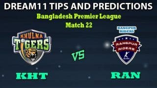 KHT vs RAN Dream11 Team Prediction Bangladesh Premier League: Captain And Vice-Captain, Fantasy Cricket Tips Khulna Tigers vs Rangpur Rangers Match 22 at Shere Bangla National Stadium, Dhaka 6:30 PM IST