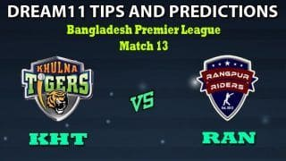 KHT vs RAN Dream11 Team Prediction Bangladesh Premier League: Captain And Vice-Captain, Fantasy Cricket Tips Khulna Tigers vs Rangpur Rangers Match 13 at Zahur Ahmed Chowdhury Stadium, Chattogram 1:30 PM IST