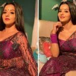 Bhojpuri Bombshell Monalisa's Latest Look in Sheer Purple Saree Will Make You Go Gaga Over Her