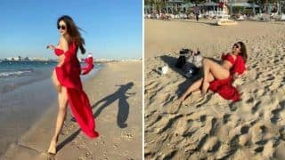 Mouni Roy Sets The Internet Ablaze in Red Hot Bikini as She Flaunts Her Toned Body on The Beachside
