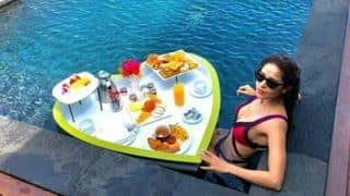 Nushrat Bharucha Enjoys Floating Breakfast in Sexy Pink-purple Bikini as She Takes a Dip in The Pool in Maldives