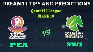 PEA vs SWI Dream11 Team Prediction Qatar T10 League: Captain And Vice-Captain, Fantasy Cricket Tips Pearl Gladiators vs Swift Gallopers Match 10 at West End Park International Cricket Stadium, Doha 9:00 PM IST