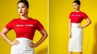 Sunny Leone Makes Fashion Statement With Red Tee And White Lace Skirt at Ragini MMS 2 Returns Promotions