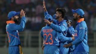 Indvwi rohit sharma kl rahul hit centuries kuldeep yadav takes hat tricks as india beat west indies by 107 runs 3882328
