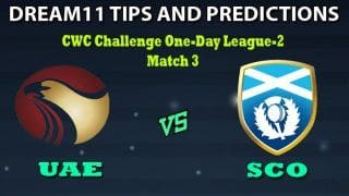 United Arab Emirates vs Scotland Dream11 Team Prediction ICC Cricket World Cup League 2: Captain And Vice-Captain, Fantasy Cricket Tips UAE VS SCO Match 3 at Sharjah Cricket Stadium, Sharjah 11:30 AM IST