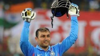 Indvwi onthisday in 2011 virender sehwag smashed the second double century in mens odis