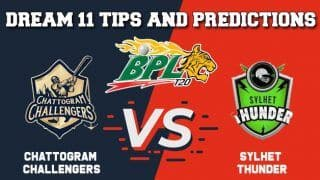 CCH vs SYL Dream11 Team Prediction Chattogram Challengers vs Sylhet Thunder: Captain And Vice Captain For Today Match 1 BPL T20 BPL 2019-20 Between CCH vs SYL at Shere Bangla National Stadium in Dhaka 1:00 PM IST December 11
