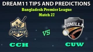 CCH vs CUW Dream11 Team Prediction Bangladesh Premier League 2019-20: Captain And Vice-Captain, Fantasy Cricket Tips Chattogram Challengers vs Cumilla Warriors Match 27 at Shere Bangla National Stadium, Dhaka 1:00 PM IST