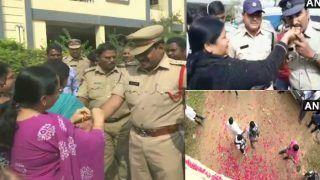 VIDEO: Encounter के बाद लोग मना रहे जश्न, पुलिस जवानों पर बरसाए फूल, महिलाओं ने खिलाए लड्डू