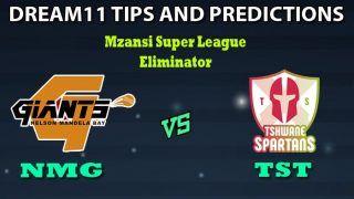NMG vs TST Dream11 Team Prediction Mzansi Super League: Captain And Vice-Captain, Fantasy Cricket Tips Nelson Mandela Bay Giants vs Tshwane Spartans Eliminator at Venue: St George's Park, Port Elizabeth 9:00 PM IST