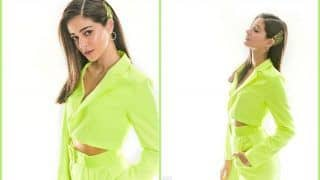 Pati Patni Aur Woh Star Ananya Panday's Uber Hot Pictures in Sizzling Neon Green Pant-Suit Set The Internet on Fire