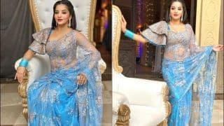 Nazar Star Antara Biswas AKA Monalisa's Sultry Pictures in Sheer Blue Saree Leave Hubby Vikrant Singh Rajpoot Smitten